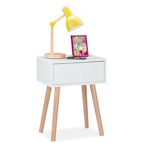 Nachttisch skandinavisch, Retro, Nachtschrank mit Schublade, HBT: 55x42x30cm, Beistelltisch Schlafzimmer, weiß
