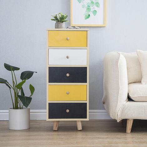 Nachttisch Wandschrank Aufbewahrungskiste mit 5 Schubladen 35x30x85cm Design Wandregale