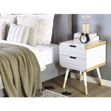 Nachttisch Weiß 2 Schubladen Eklektischer Stil 40 x 40 cm Für Nachttisch