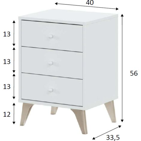 Nachttisch mattweiß 3 Schubladen | weiß - FO007803A