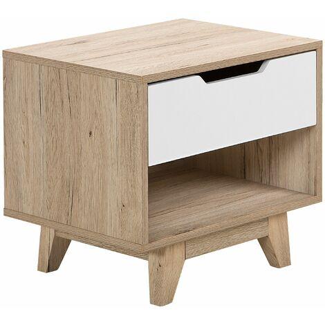 Nachttisch Weiß Heller Holzfarbton MDF Platte Kiefernholz 46 x 50 x 40 cm Modern Praktisch Schublade Schlafzimmer