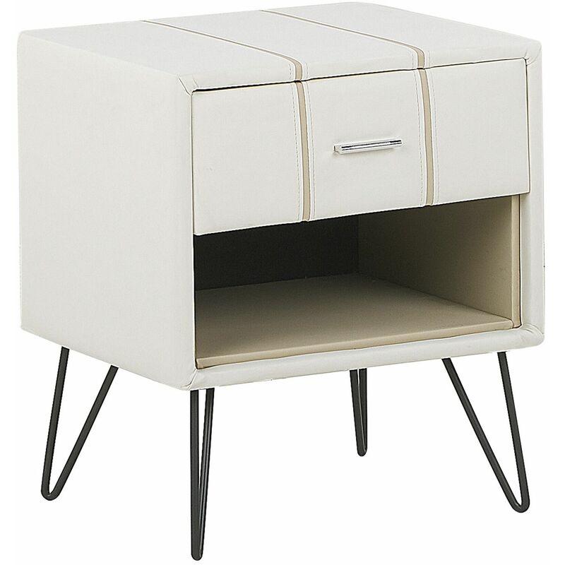 Nachttisch Weiß Kunstleder mit Schublade und Fach Modern Minimalistisch Glamour Look Schlafzimmer - BELIANI