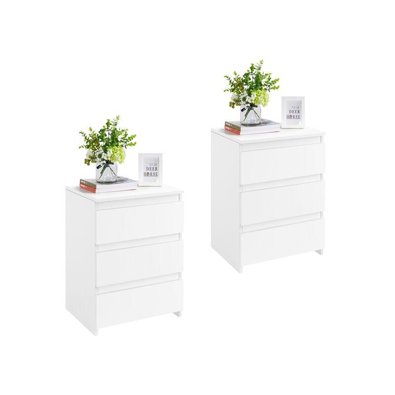 Nachttische 2er Set, Nachtkommode mit 3 Schubladen, Nachtschrank aus Holz, Schubladekommode Weiß 45 x 35 x 60,5 cm - YAHEETECH