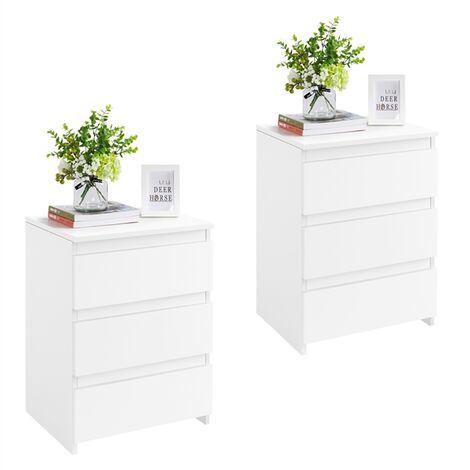 Nachttische 2er Set, Nachtkommode mit 3 Schubladen, Nachtschrank aus Holz, Schubladekommode Weiß 45 x 35 x 60,5 cm