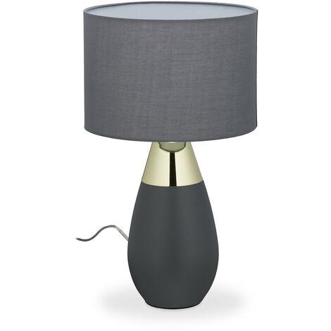 Nachttischlampe Touch dimmbar, 3 Stufen, E14, HxD 48,5 x 28 cm, moderne Touch Lampe mit Stoffschirm, grau/gold