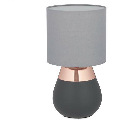 Nachttischlampe Touch dimmbar, moderne Touch Lampe, 3 Stufen, E14, Tischlampe, HxD: 32,5 x 18 cm, grau-kupfer
