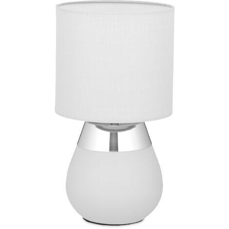 Nachttischlampe Touch dimmbar, moderne Touch Lampe, 3 Stufen, E14, Tischlampe, HxD: 32,5 x 18 cm, grau-silber