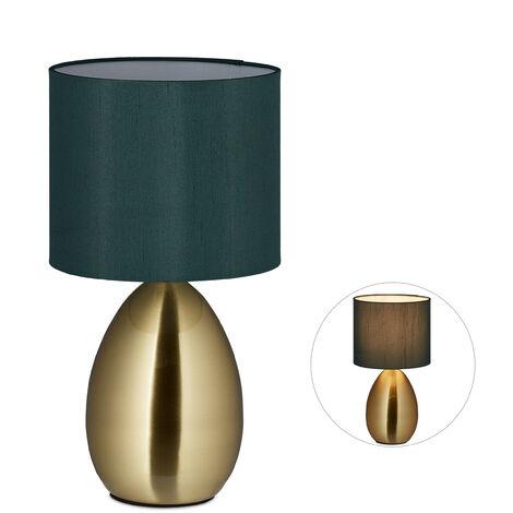 Nachttischlampe Touch dimmbar, moderne Touch Lampe, 3 Stufen, E14, Tischlampe mit Kabel, 33,5 x 18 cm, messing