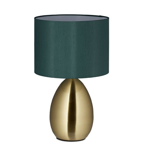 Nachttischlampe Touch dimmbar, moderne Touch Lampe, 3 Stufen, E14, Tischlampe mit Kabel, 49 x 30 cm, messing