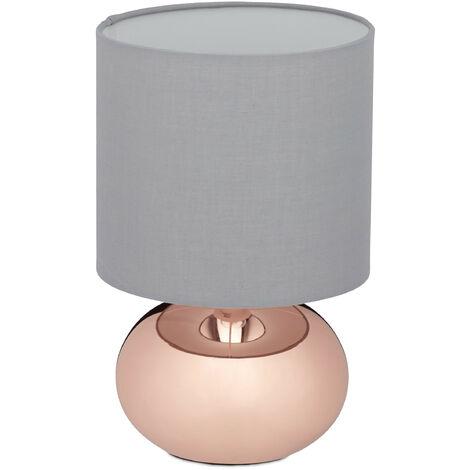 Nachttischlampe Touch dimmbar, moderne Touch Lampe mit 3 Stufen, E14, Tischlampe mit Kabel, 28 x 18 cm, kupfer