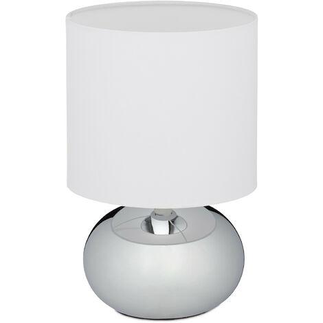Nachttischlampe Touch dimmbar, moderne Touch Lampe mit 3 Stufen, E14, Tischlampe mit Kabel, 28 x 18 cm, silber