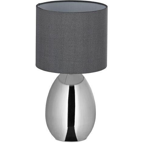 Nachttischlampe Touch dimmbar, moderne Touch-Lampe mit 3 Stufen, E14, Tischlampe mit Kabel, 33,5x18 cm, silber