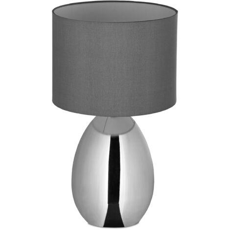 Nachttischlampe Touch dimmbar, moderne Touch-Lampe mit 3 Stufen, E14, Tischlampe mit Kabel, 49 x 30 cm, silber