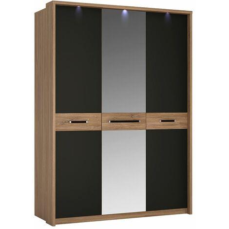 Naco Three Door Wardrobe With Mirror Door Plus Hanging Shelf And Concealed Lights