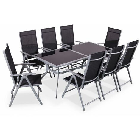 Naevia 8 seater aluminium and textilene garden table, black ...