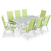 Naevia 8 seater garden table and chairs, white / green