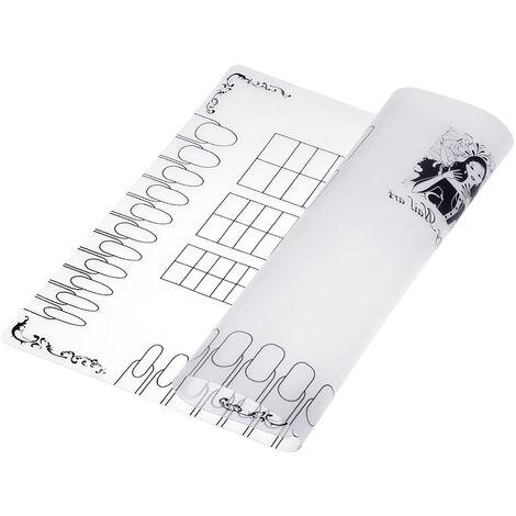 Nail Art Manucure Tapis En Silicone Pliable Lavable Doux Table Couverture Pad Pour Estampage Reverse Tampon Tapis Nail Pratique Espace De Travail Design Plaque, 3,1 M, Blanc
