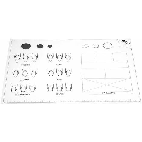 Nail Art Manucure Tapis En Silicone Pliable Lavable Tapis De Couverture De Table Souple Pour Estampage Reverse Tampon Tapis Pratique Des Ongles Espace De Travail Design Plaque, 2.95 M, Blanc