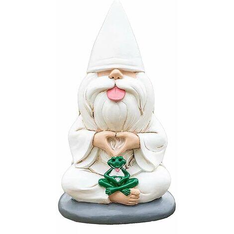 Nain de jardin Statue d'elfe en résine Gnome Gobpn Âge Homme Nain de jardin Sculpture Paysage