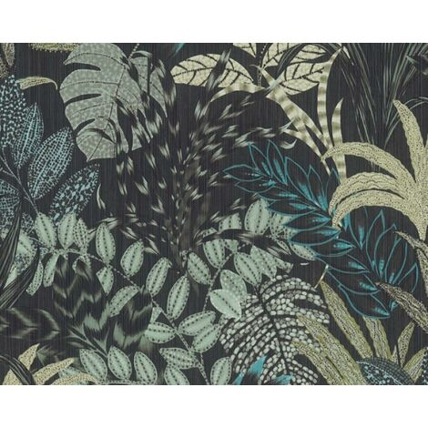 Nala Cape Town Metropolitan Stories Black Blue Vibrant Floral Leaf Vinyl Wallpaper