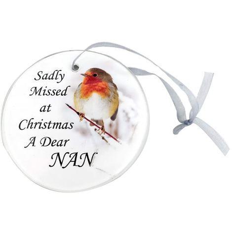 Nan Glass Robin Memorial Christmas Tree Hanger Ornament Memorial Tribute Xmas