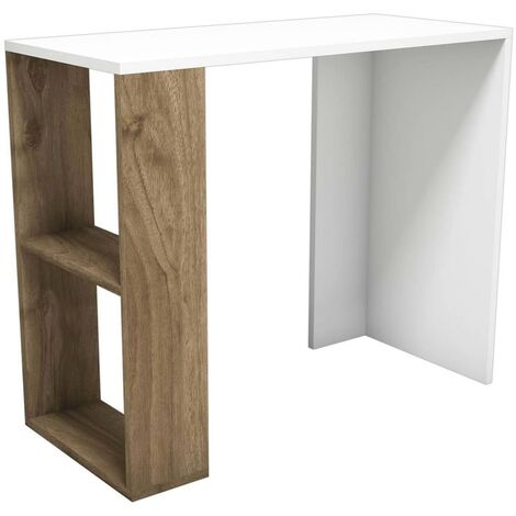 Nano Desk - with Shelves - for Office, Bedroom - Walnut, White, made in Wood, 90 x 40 x 75 cm