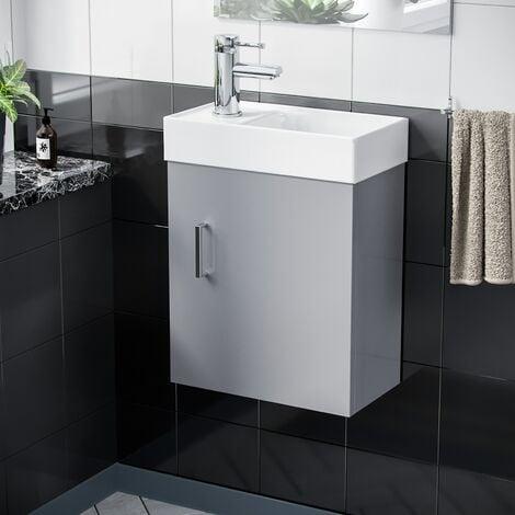 Nanuya 400 mm Light Grey Wall Hung Vanity Cabinet and Tap Set