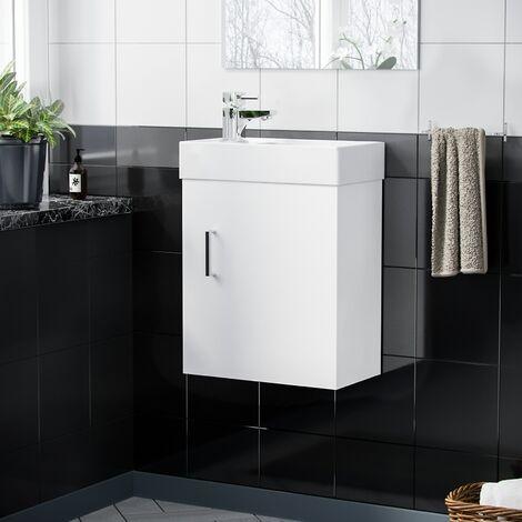 Nanuya 400 mm White Wall Hung Basin Vanity Cabinet and Mixer Tap Set