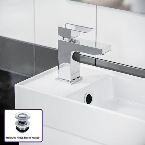 Nanuya 400 mm White Wall Hung Basin Vanity Unit and Tap Set
