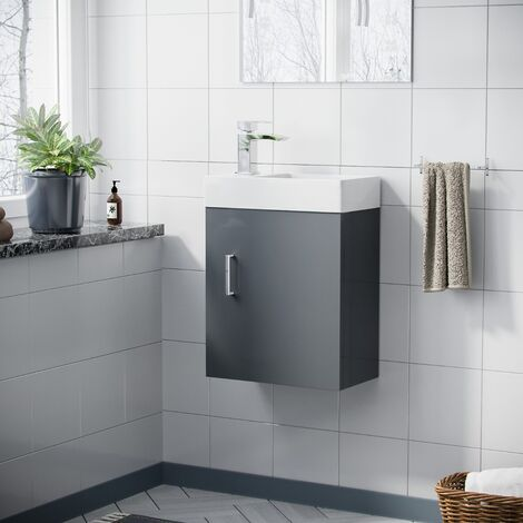 Nanuya 400mm Bathroom Cloakroom Grey Basin Wall Hung Vanity Unit