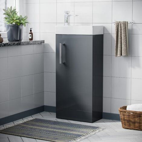 "main image of ""Nanuya 400mm Cloakroom Vanity Basin Unit Grey"""