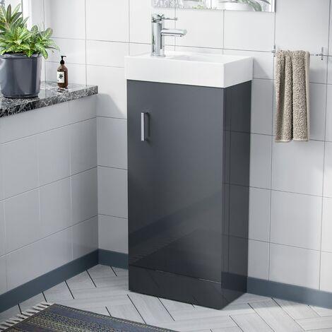 "main image of ""Nanuya 400mm Cloakroom Vanity Basin Unit, Mixer Tap & Waste Dark Grey"""