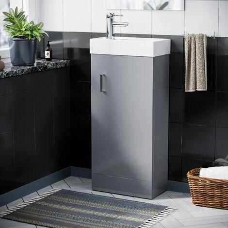 "main image of ""Nanuya 400mm Cloakroom Vanity Basin Unit, Mixer Tap & Waste Light Grey"""