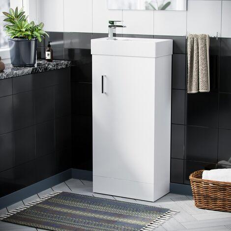 Nanuya 400mm Cloakroom Vanity Basin Unit, Waterfall Basin Tap & Waste White
