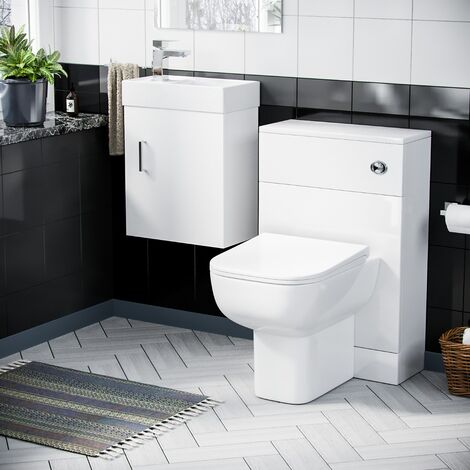 """main image of """"Nanuya 400mm Cloakroom Wall Hung Basin Vanity Unit & Concealed Cistern WC Toilet Pan White"""""""