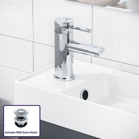 "main image of ""Nanuya 400mm Cloakroom Wall Hung Basin Vanity Unit, Mini Mixer Tap & Waste Dark Grey"""
