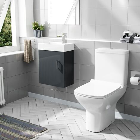 "main image of ""Nanuya 400mm Cloakroom Wall Hung Basin Vanity Unit & Rimless Close Coupled Toilet Dark Grey"""