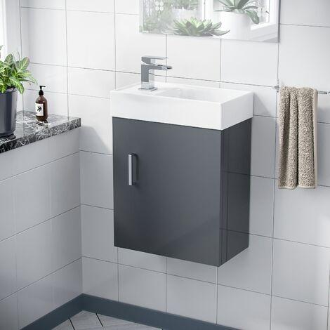 Nanuya 400mm Cloakroom Wall Hung Basin Vanity Unit, Waterfall Tap & Waste Dark Grey