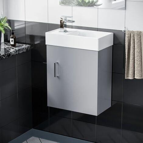 Nanuya 400mm Cloakroom Wall Hung Basin Vanity Unit, Waterfall Tap & Waste Light Grey