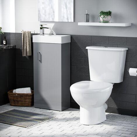 """main image of """"Nanuya 400mm Vanity Basin Unit & Close Coupled Toilet Light Grey"""""""