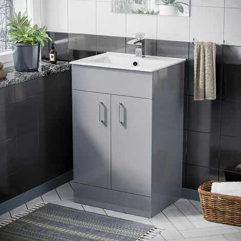 Nanuya 500 Light Grey Slim Basin Vanity Unit