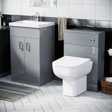"main image of ""Nanuya 500mm Vanity Basin Unit & WC Unit & Debra Back to Wall Light Grey `"""