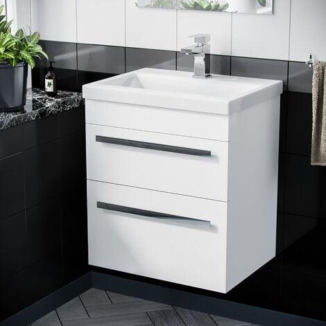 "main image of ""Nanuya 500mm Wall Hung 2 Drawer Vanity Basin Unit White"""