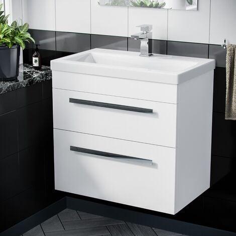 "main image of ""Nanuya 600mm Wall Hung 2 Drawer Vanity Basin Unit White"""