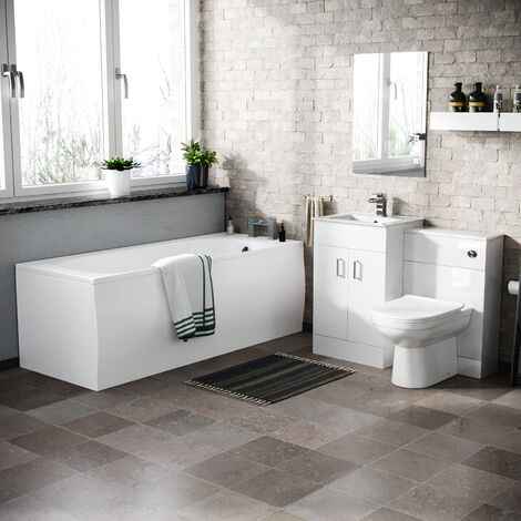 Nanuya Basin Vanity & WC Toilet Pan Soft Close Seat and Bath Suite