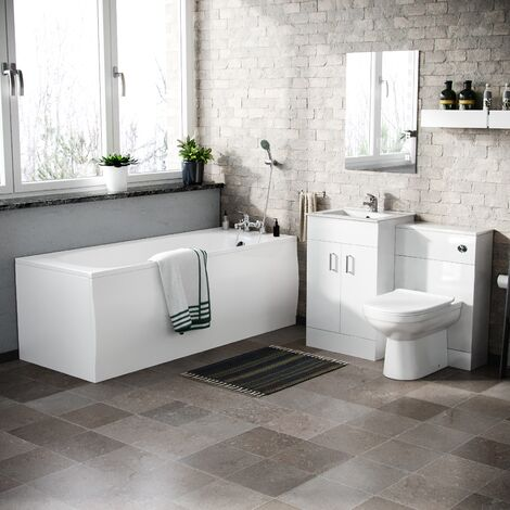 Nanuya Basin Vanity & WC Toilet straight Bath With Taps Bathroom Suite