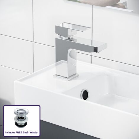 Nanuya Cloakroom 400 mm Grey Vanity Unit and Basin Mixer Tap Set