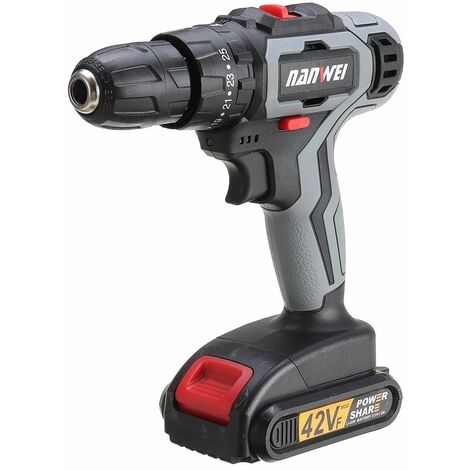 Nanwei 21V 35N / M Brushless Hammer Drill 2 Speed ??25 + 3 Speed ??Li-ion Rechargeable Electric Flat Hammer Drill with 2 Batteries