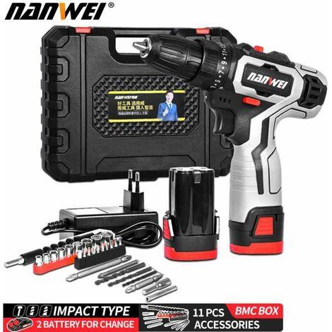 NANWEI Perceuse visseuse sans fil 18V - 2 batteries + chargeur - 2 vitesses + 11 accessoires