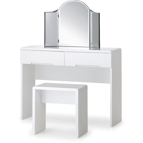 Naomi Dressing Table With 2 Drawers High Gloss White